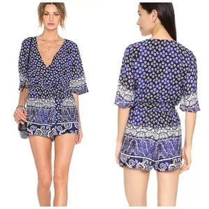 Lovers + Friends Isabelle Indigo Floral Romper